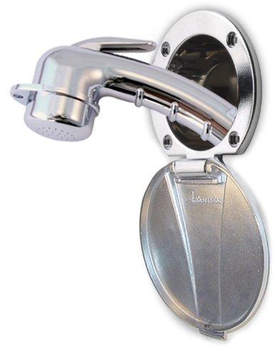 Ambassador Marine Universal Collection SS Lid/Plastic Cup Recessed Shower, Stainless Steel/Chrome