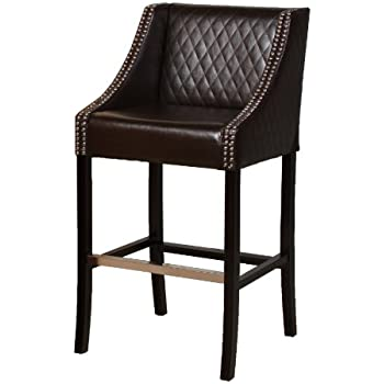 Amazon Com Best Selling Milano Leather Bar Stool Brown
