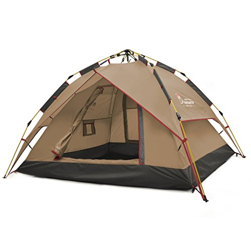 Mountaintop Outdoor 2-3 Person Backpacking Tent/Camping Tent with Carry Bag Automatic 3 Season Tents for Camping Hiking Beach Coffee