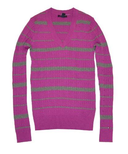 tommy hilfiger women v neck striped logo sweater pullover. Black Bedroom Furniture Sets. Home Design Ideas