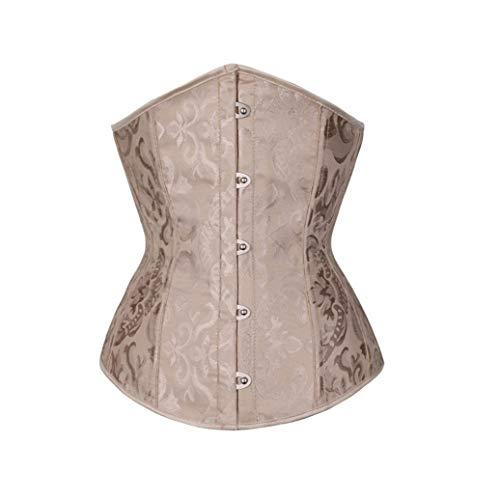 DEBRICKS Women's Lace Up Boned Jacquard Brocade Waist Training Underbust Corset Beige