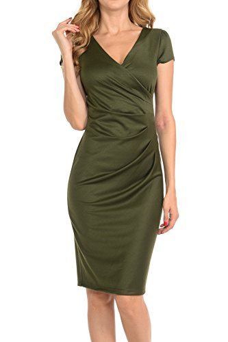 Auliné Collection Womens V-neck Zip Up Work Office Career Side Wrap Sheath Dress Olive Green (Classic Olive Green)