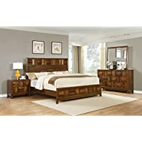 Roundhill Furniture Calais Solid Wood Construction Bedroom Set with Bed, Dresser, Mirror, Night Stand, King, Walnut
