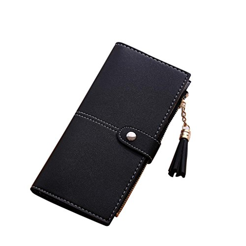Womail Women Hasp Leather Wallet Card Coin Holder Clutch Handbags (Black)