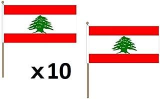 AZ FLAG Drapeau Liban 45x30cm HAMPE en Bois - Lot de 10 Drapeaux libanais 30 x 45 cm