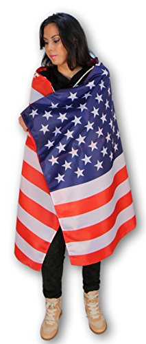 USA American Flag Cape With Microfiber Storage Pouch - Full Size Wearable Flag with Sleeves and Soft Neck Tie for Adults - Use it as a Poncho, Wrap, Cloak, Or Shawl