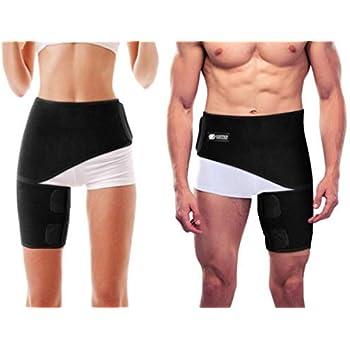 42d8744438 Copper Compression Groin Thigh Sleeve Hip Support Wrap. Adjustable Neoprene  Brace Hamstring, Quad, Pulled Muscle, Lower Back, Sciatica Nerve, Hip  Flexor, ...