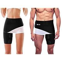 Copper Compression Groin Thigh Sleeve Hip Support Wrap. Adjustable Neoprene Brace Hamstring, Quad, Pulled Muscle, Lower Back, Sciatica Nerve, Hip Flexor, Strain, Arthritis. Fit for Men and Women.