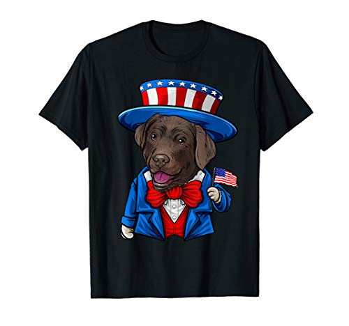 Funny Chocolate Lab 4th of July, Labrador Retriever Gifts T-Shirt