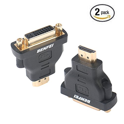 HDMI to DVI Adapter, Benfei HDMI to DVI-D DVI Bidirectional Converter Male to Female with Gold-Plated Cord 2 Pack