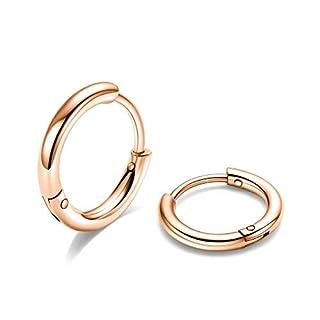 Cartilage Hoop Earrings Hypoallergenic - 12mm Rose Gold Mens Hoop Earrings Sleeper Earrings 18G Pearcings Earrings Medium Hoop Earrings