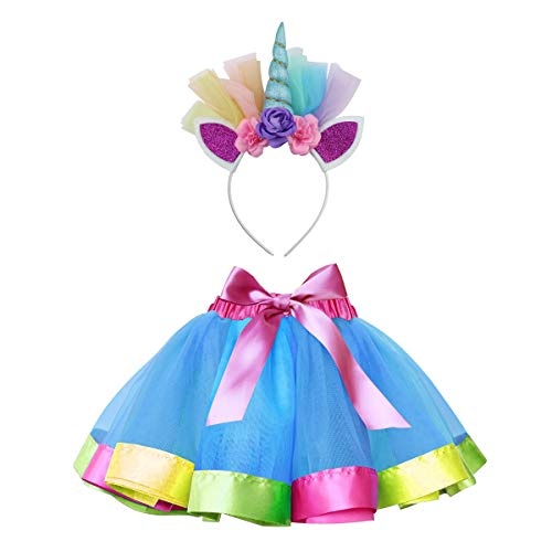 Sparkling Unicorn Tutu Skirt and Unicorn Headband Outfit for Girls 2T, 3T,4T,5T,6T,7T Birthday Party Costumes Set (L,4T-7T, Light Blue)