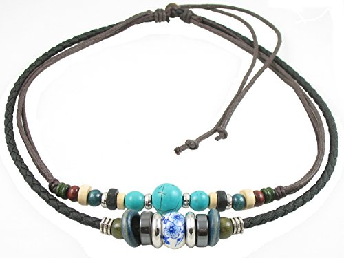 Adjustable Leather Cord (Ancient Tribe Adjustable Hemp Leather Cords Choker Necklace Turquoise Beads,Black)