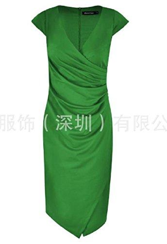 Coolred-femmes Sexy Fendue Crayon Maigre Une Étape Robe De Carrière V Cou Vert