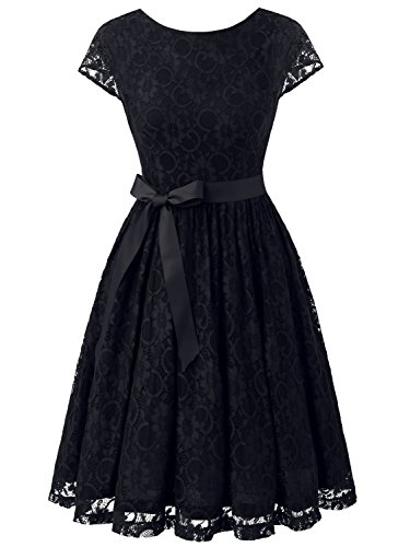 champagne and black lace prom dress - 1
