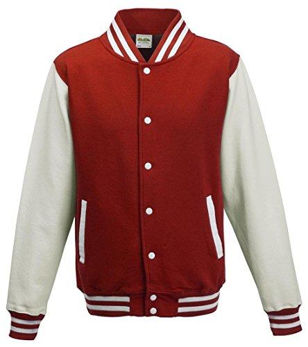 (AWDis Hoods Varsity Letterman jacket Fire Red / White)