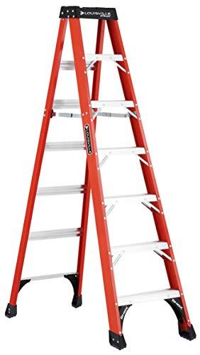 Louisville Ladder 7-Foot Fiberglass Step Ladder, 375-Pound Capacity, FS1407HD (Liftkar Hd Heavy Duty Stair Climbing Truck)