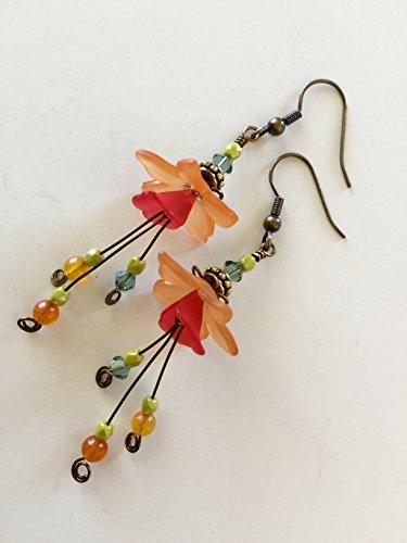 Flower Earrings, Tiger Lily Earrings, Orange Flower Earrings, Lucite Flower Earrings, Quartzite, Swarovski Crystal, Czech Glass Earrings, Antique -