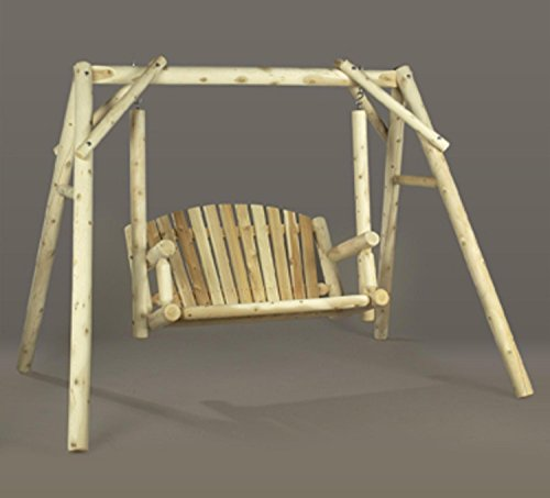 5' Natural Cedar Log-Style Outdoor Wooden American Garden Swing (Log American Garden Swing)