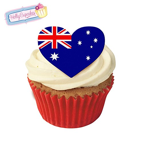 12 Edible flag design cake decorations plus a FREE GIFT of 12 smaller heart toppers: Australia