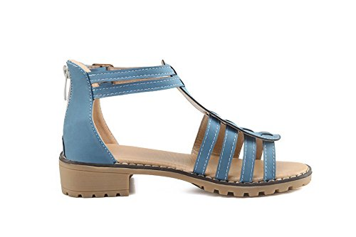 Zipper Heels Low Solid AalarDom Toe Materials Blue Sandals Soft Open Womens wtPq8I