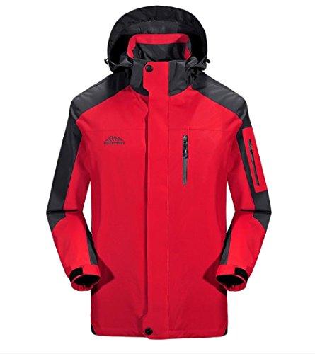 Zimaes Mens Rural Mountain Breathable Detachable Venture Jacket Red L