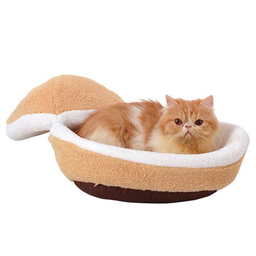 Small QNMM Hamburger Pet Cats Beds Cat Bed Cave Washable Sleeping Bag Sleeping Bag Sofa Removable Thermal Hiding Burger Bun For Pets,S