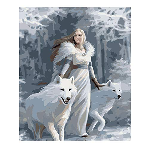 LovetheFamily 数字油絵 数字キット塗り絵 手塗り DIY絵 デジタル油絵 雪狼と白の美しさ 40x50cm ホーム オフィス装飾 手芸・画材 手工芸 キット、芸術、工芸、DIY 手作り 家庭装飾品の商品画像