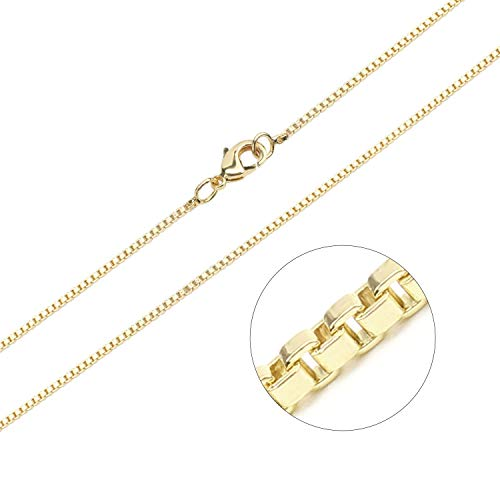 - Wholesale 12 PCS 1.2MM Thin Gold Plated Brass Box Chain Bulk for Jewelry Making (18 Inch)