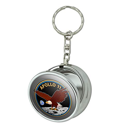 GRAPHICS & MORE NASA Apollo 11 50th Anniversary Patch with Eagle on The Moon Portable Travel Size Pocket Purse Ashtray Keychain with Cigarette Holder
