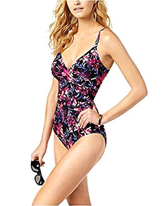 1154584db7e218 Calvin Klein Printed Twist-Front Tummy-Control One-Piece Swimsuit ...