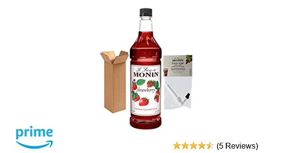 Amazon.com : Monin Strawberry Syrup, 33.8-Ounce Plastic Bottle (1 Liter) with Monin BPA Free Pump, Boxed. : Grocery & Gourmet Food