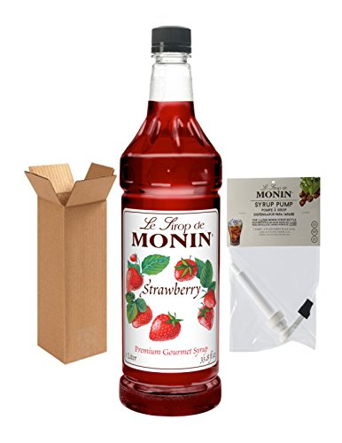 Monin Strawberry Syrup, 33.8-Ounce Plastic Bottle (1 Liter) with Monin BPA Free Pump, Boxed. ()