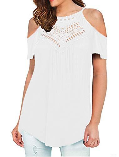 ONLYSHE Oversized Blouses for Women Lace Hollow Out Summer Short Sleeve Tshirt White XXL