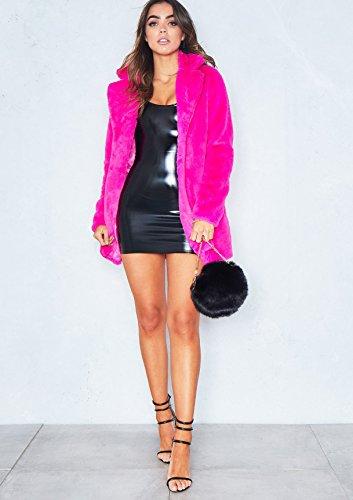 Mujer Rosa para con Outwear Chaqueta Sintética de de Kemosen Pelo Manga Larga Calentar Abrigo de Invierno Piel YAawqf4HS