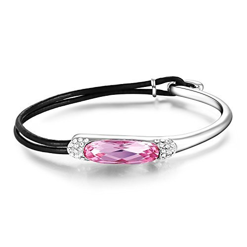 Tiffany Starburst (Mondaynoon Deal of the Day Swarovski Element Crystal Jewelry Womens Half Leather Stainless Steel Bracelet, Elegant Lady Cuff Bangle with Rope (White+Light Roseo+Gift Box))