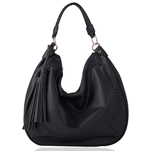 Black Leather Tassel Bag - 4