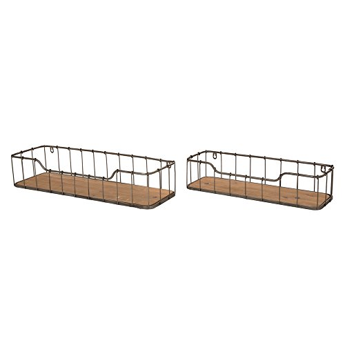 Glitzhome Metal Wooden Wall Storage Baskets Shelves Rustic Design Set of Two - Wood Spice Tray