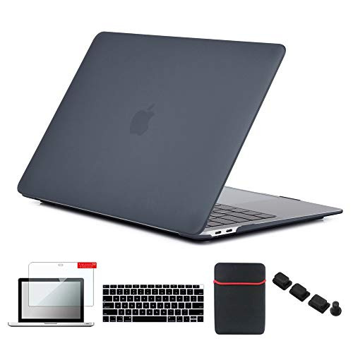 Se7enline New MacBook Air 2018 Case 13 inch Hard Shell Cover for MacBook Air 13-Inch with Retina Display Touch ID Model A1932 with Sleeve Bag, Keyboard Cover, Screen Protector, Dust Plug, Black