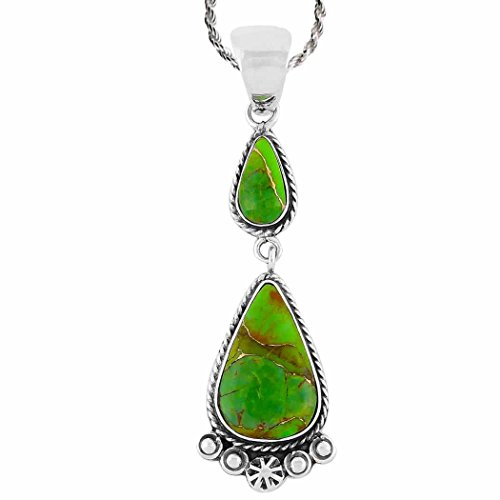 Sterling Silver Genuine Green (Turquoise Necklace 925 Sterling Silver & Genuine Green Turquoise Pendant with 20