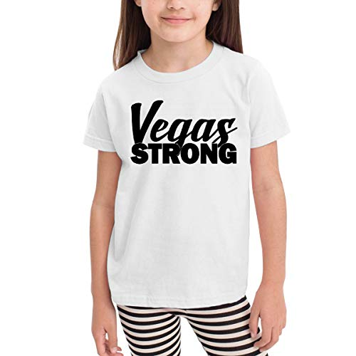 Short-Sleeve Vegas Strong T-Shirts for Girls, Casual Blouse Clothes, 2-6T White]()