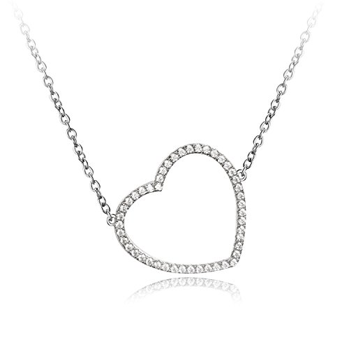 Tiffany Pave Necklace - Carleen Elegant Sterling Silver Love Heart Pendant Necklaces for Women 18 Inch