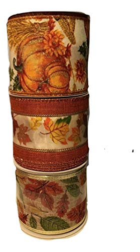 Autumn Harvest Wired Ribbon Bundle Fall Leaves and Pumpkins