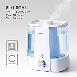 Ultrasonic Cool and Warm Mist Humidifiers, marsboy 6L (1.6 GAL) Anti Mold Aroma Diffuser Air Diffuser, Topside Water Refill, Super Quiet Operation, Ambient Night Light, Easy Cleaning for Baby Adults