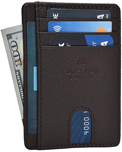 RFID Leather Front Pocket Slim Wallets- Genuine Leather Minimalist Credit Card Holder By Clifton Heritage (Brown Pebble)