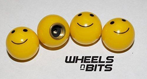 BIKE BICYCLE MOTOR SMILE SMILEY FACE VALVE CAPS DUST DUSTIES CAP SET OF 4