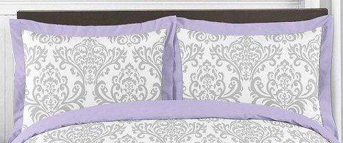 Sweet Jojo Designs 3-Piece Lavender Gray White Elizabeth Damask Print Children and Teen Full / Queen Girls Bedding Set Collection