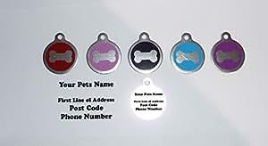 Pet ID Etiqueta Etiquetas, calidad 25mm Redondo Rojo Hueso de perro forma con Tab