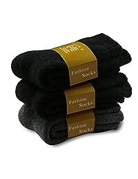 3 Pairs Socks, PASAONE Merino Wool Terry Winter Warm Extra Heavy Crew Socks