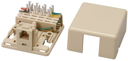 Allen Tel Products AT625A3-4 1 Port, USOC Wiring, 6 Position, 4 Conductor Modular Surface IDC Outlet Jack, Ivory